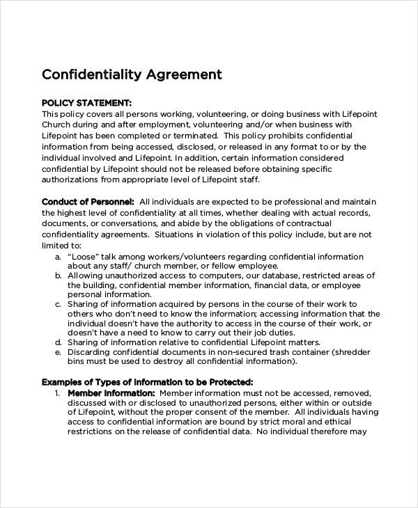 Church Confidentiality Agreement – 9+ Free Word, PDF Documents ...