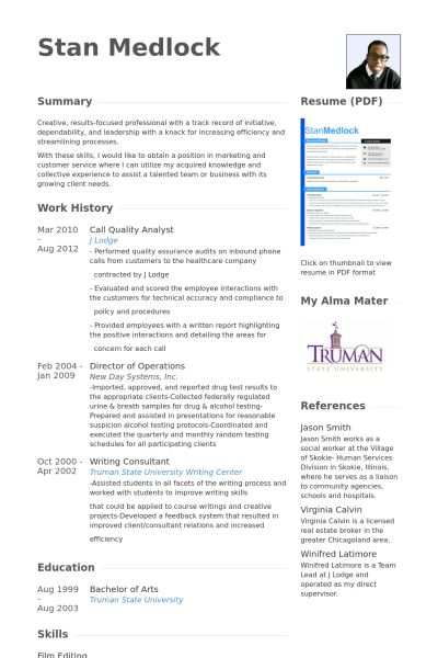 Quality Analyst Resume samples - VisualCV resume samples database
