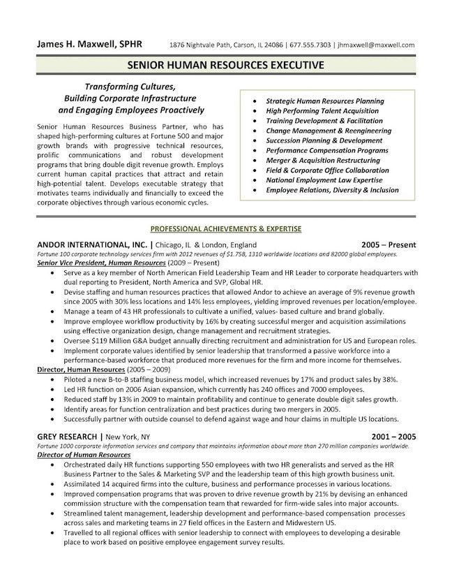 Executive Resume Examples 8 Human Resources Executive Resume ...