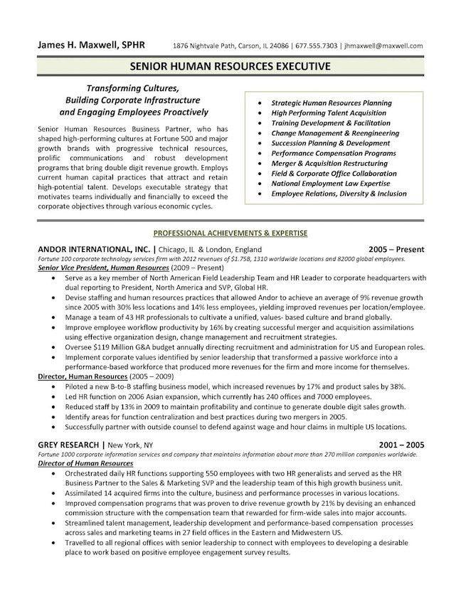 Executive Resume Examples 8 Human Resources Executive Resume ...