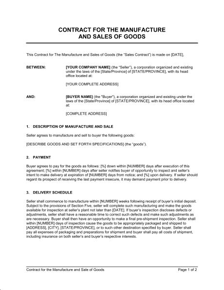 Contract for the Manufacture and Sale of Goods - Template & Sample ...