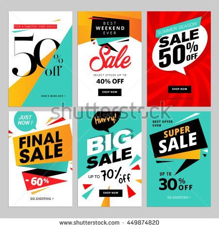 Flat design eye catching sale website banners for mobile phone ...