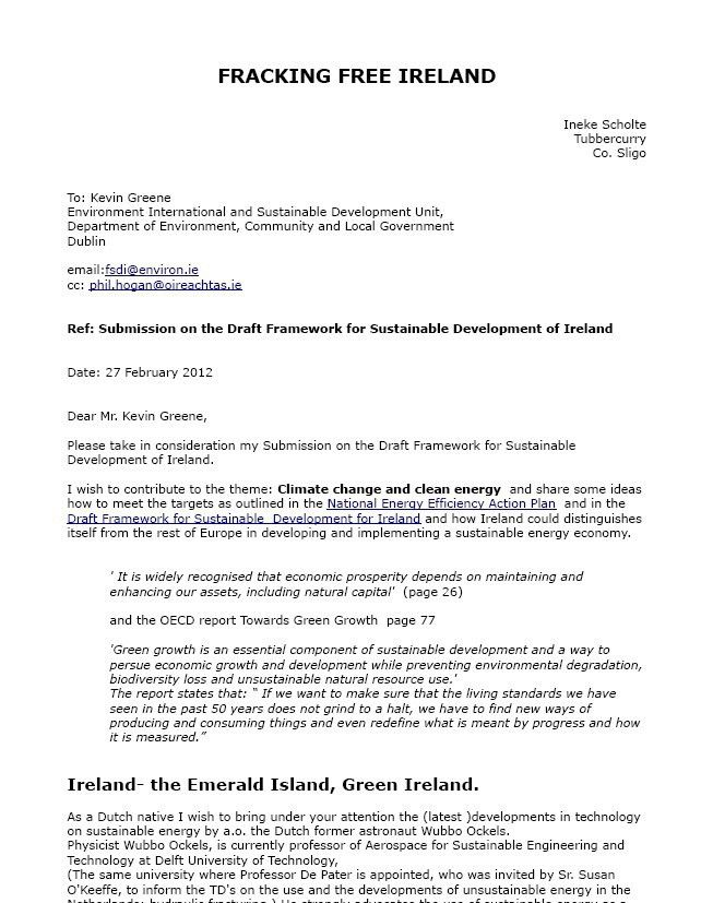 Letters-answers Politicians | Fracking Free Ireland