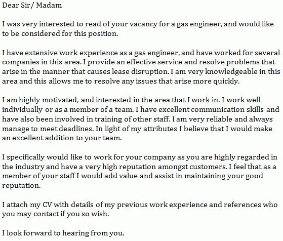 Gas Engineer Cover Letter Example - Learnist.org