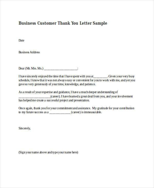 69+ Thank-You Letter Examples