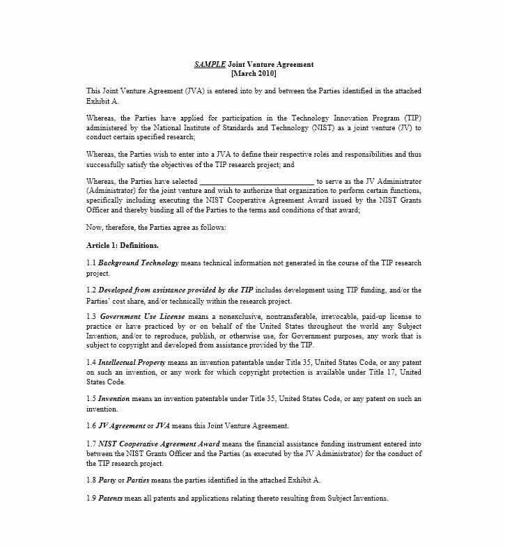 Sample Joint Venture Agreement. Employee Confidentiality Agreement ...
