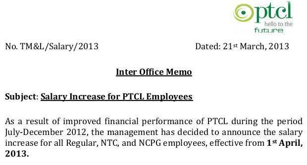 PTCL Notification Regarding Employees Pay Increase 2013