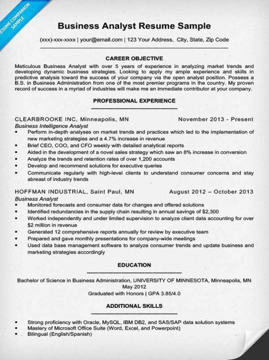 Business Analyst Resume Sample & Writing Tips | Resume Companion