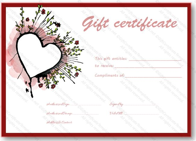 Abstract heart gift certificate template - Certificate Templates