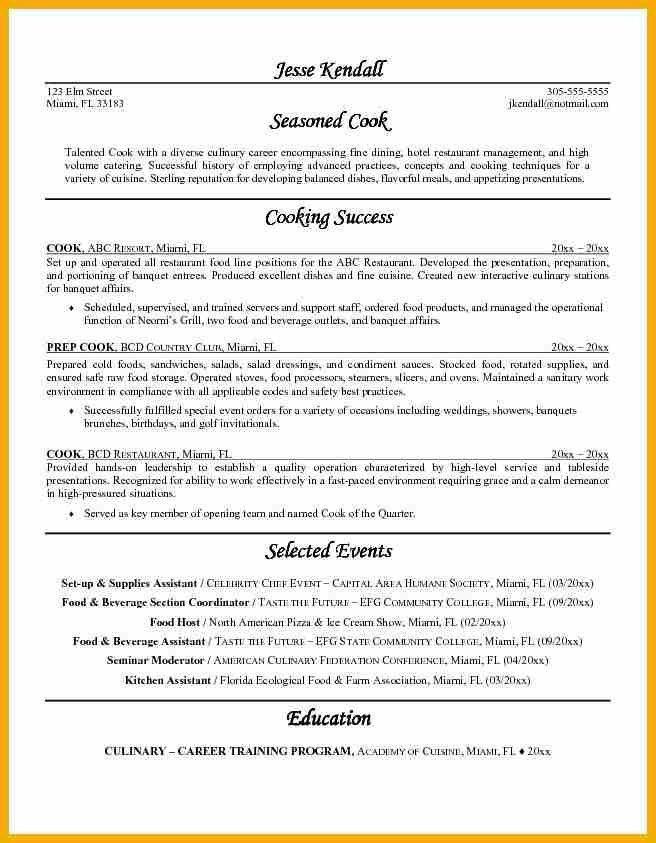 Cook Resume, example of cook resume resume - schoodie.com #97 ...