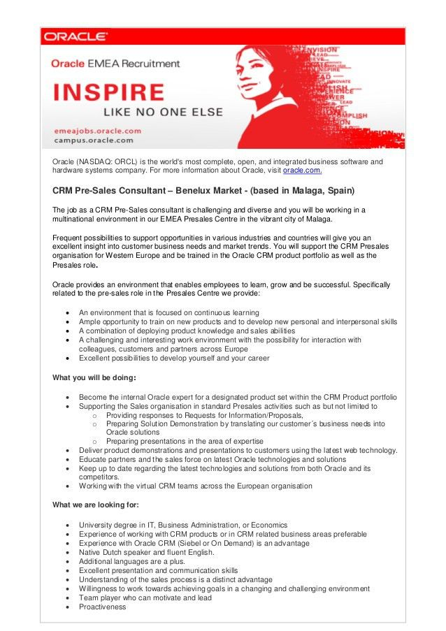 CRM Pre-Sales Consultant Benelux 2013