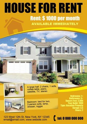 House for Rent poster template, How to make a House for Rent poster...