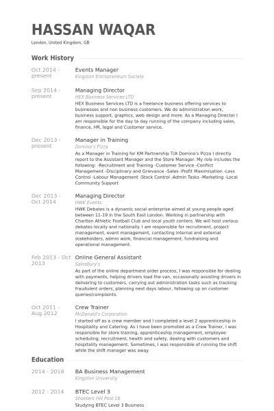 Events Manager Resume samples - VisualCV resume samples database
