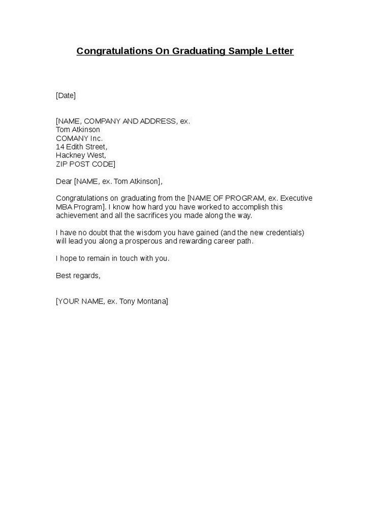 Congratulations On Graduating Sample Letter - Hashdoc