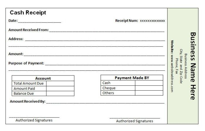 Cheque Payment Receipt Format In Word - formats.csat.co