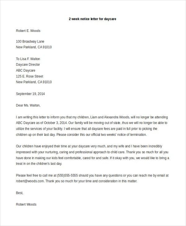 Sample 2 Week Notice Letter - 8+ Sample Documents in Doc