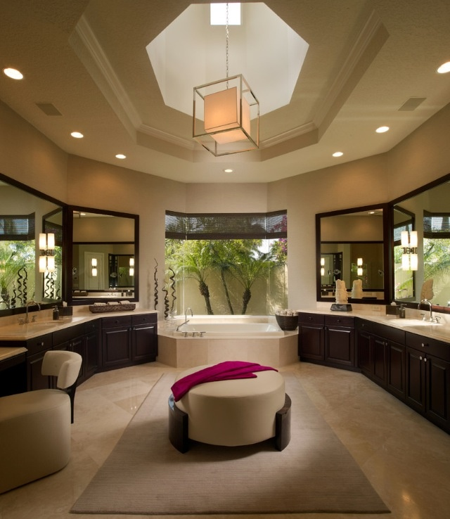 Perfect Master Bathroom Floor Plans With Shower Awesome Contemporary Interior Designed Unique Hexagonal Ceiling And Skylight