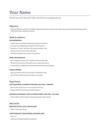 "SAMPLE WAITRESS <a href=""http://resume.tcdhalls.com/resume-ex.html ..."