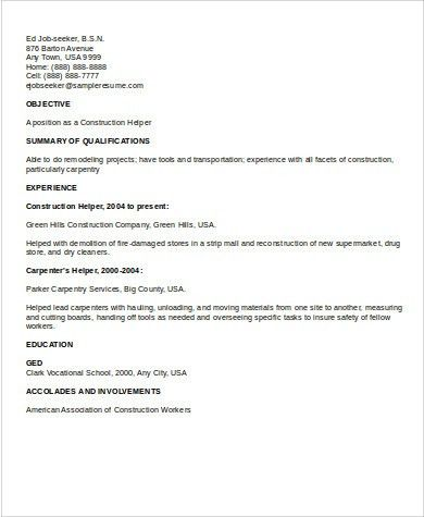 resume for construction workers construction worker resume sample