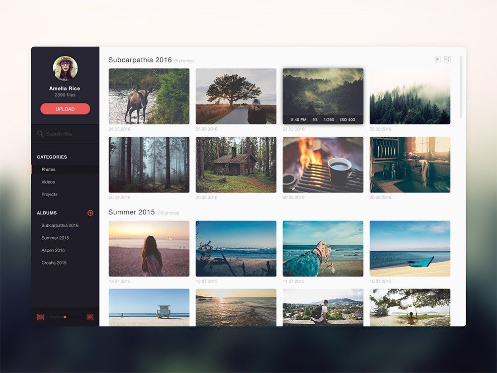 Photo Gallery Website Application Template Free PSD Download ...