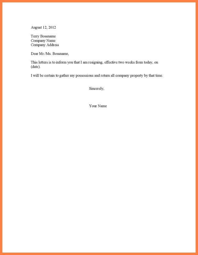 6+ basic resignation letter two weeks notice | Bussines Letter