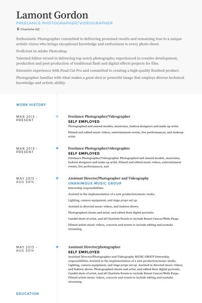 Astounding Videographer Resume 13 Freelance Photographer Resume .