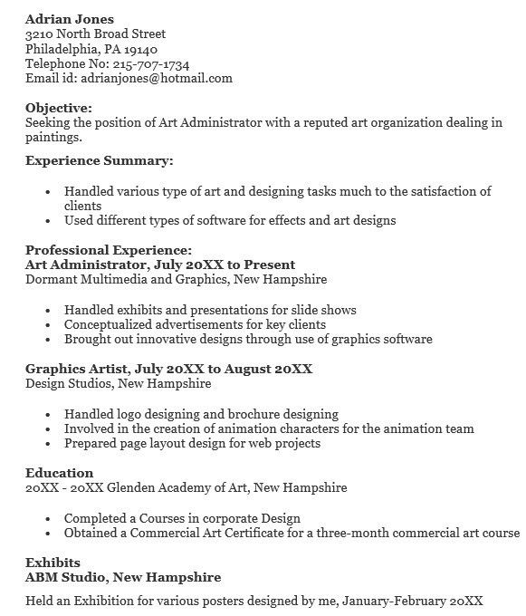 16 Free Sample Art Administrator Resumes – Sample Resumes 2016