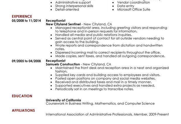 Receptionist Resume Sample receptionist administration and office ...