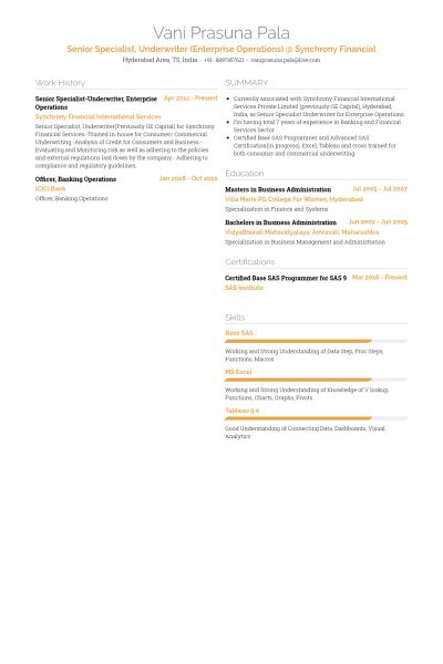 Underwriter Resume samples - VisualCV resume samples database