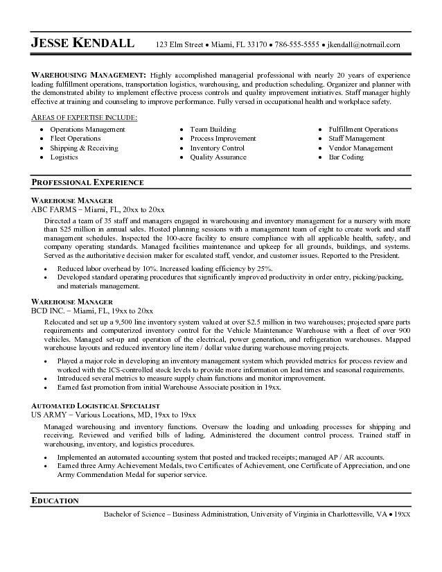 Warehouse Manager Resume Sample | Template Design