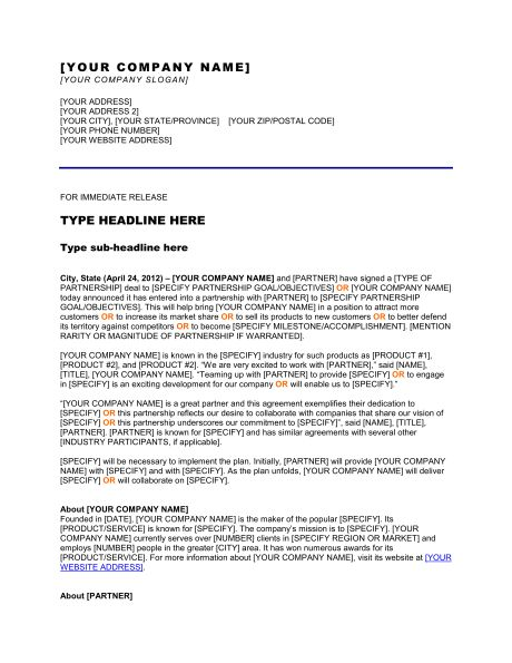 Press Release Opening a New Office - Template & Sample Form ...