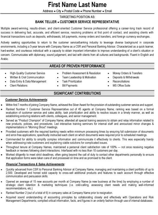 Download Banking Customer Service Sample Resume ...