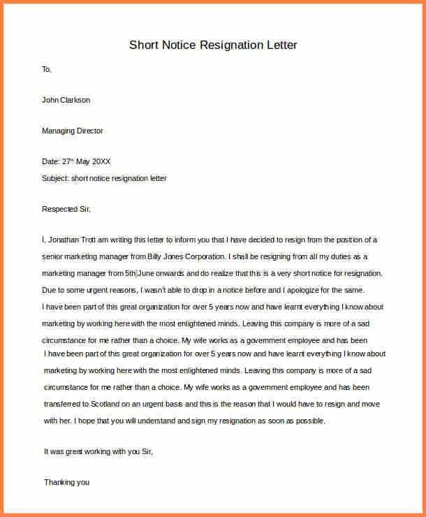 9+ short notice resignation letter | Resign Letter Job