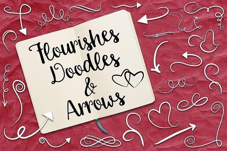 Flourishes, Doodles and Arrows Vector C | Design Bundles