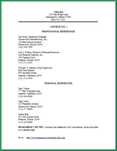 10 Resume References Template | applicationsformat.info