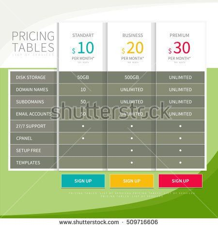 Pricing Plan Comparison Set Commercial Business Stock Vector ...