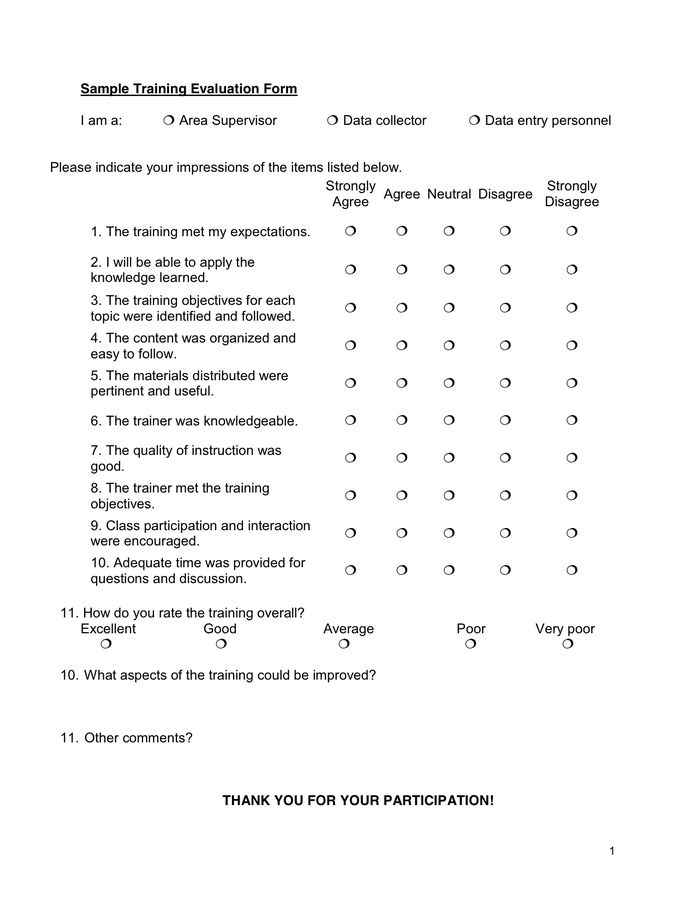 Sample Training Evaluation Form in Word and Pdf formats