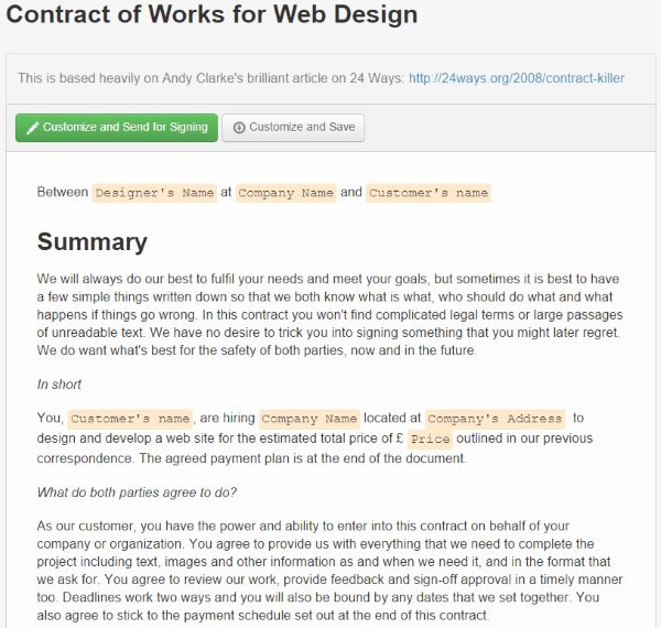 Where To Find Web Design Contract Templates For Web Design ...