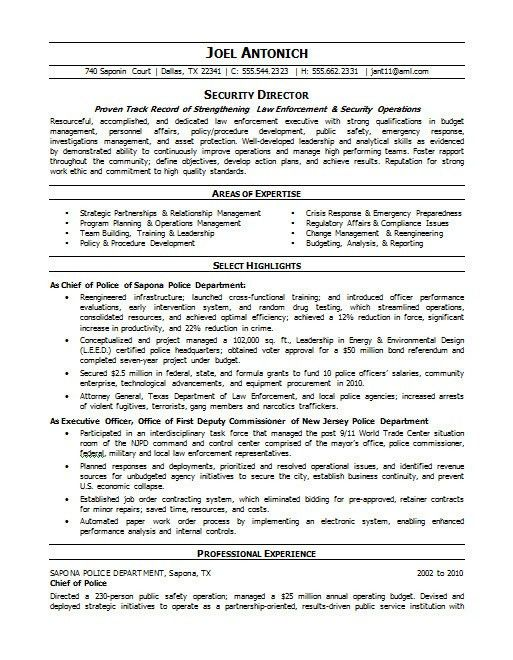 Law Enforcement Security Resume | Careers Done Write