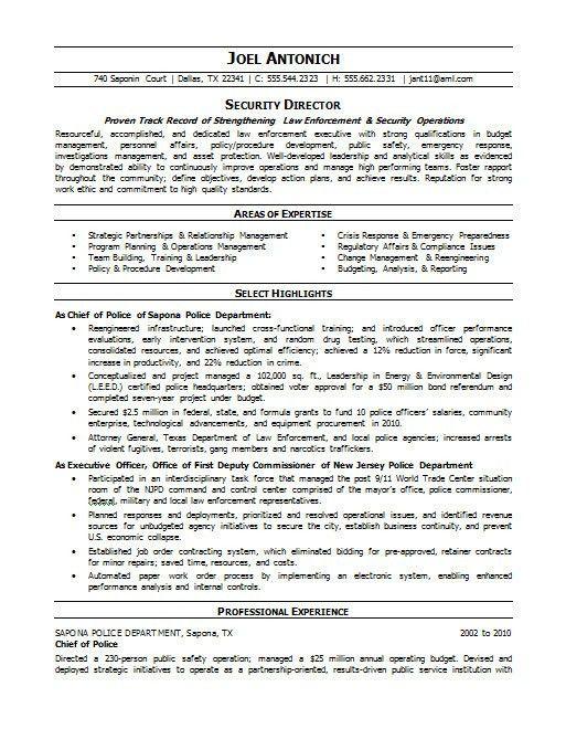 Police Resume. Campus #Police Officer Resume Sample #Law ...