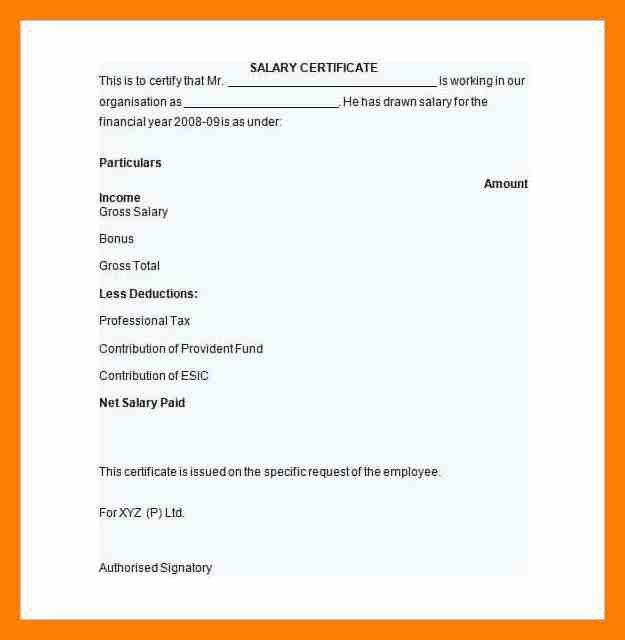 13+ salary certificate form | students resume