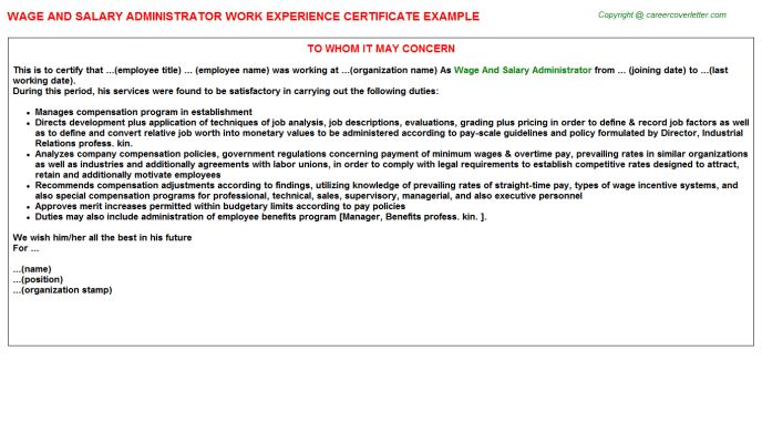 Wage And Salary Administrator Work Experience Certificate