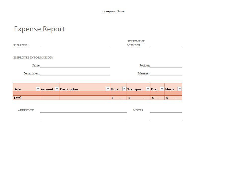 Simple Expense Report Template | Simple Expense Report