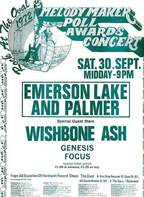 Wishbone Ash Concert Poster | Melody Maker Poll Awards Concert ...