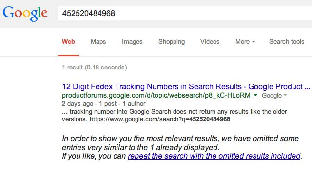 Bing Can Track 12 Digits Fedex Numbers But Not Google