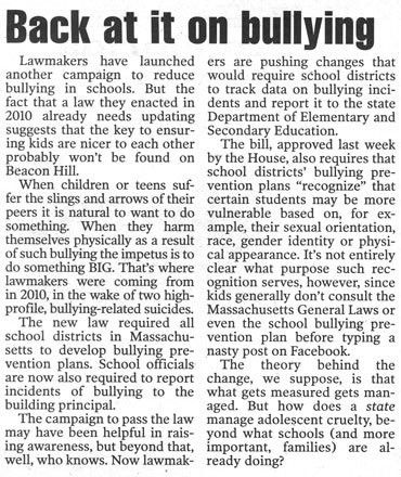Gay lobby pushing radical anti-bullying law update in Mass.