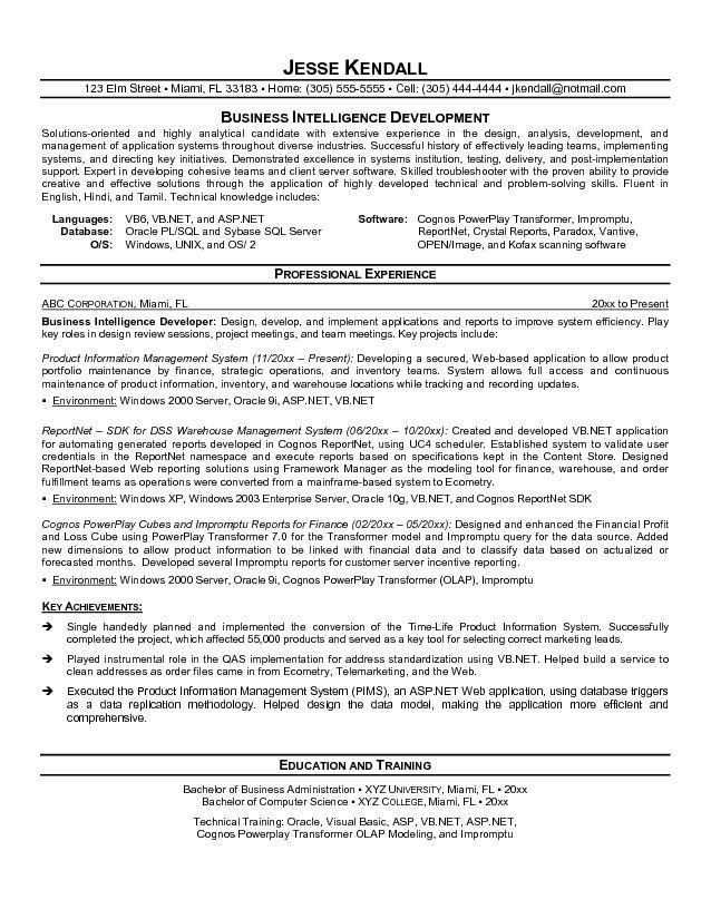 Sample resume business objects