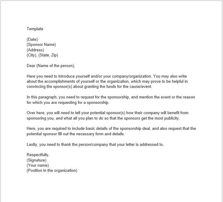23 Free Sample Sponsorship Letters (MS Word) - TemplateHub
