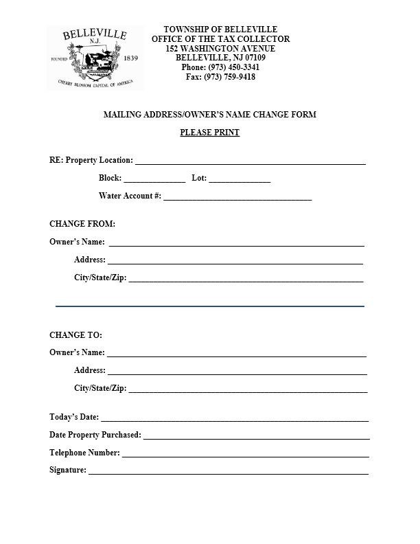 Tax Collector – Mailing Address/Name Change Form – The Township of ...