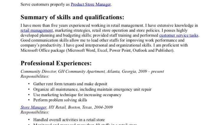 assistant manager resume sample. assistant retail manager resume ...
